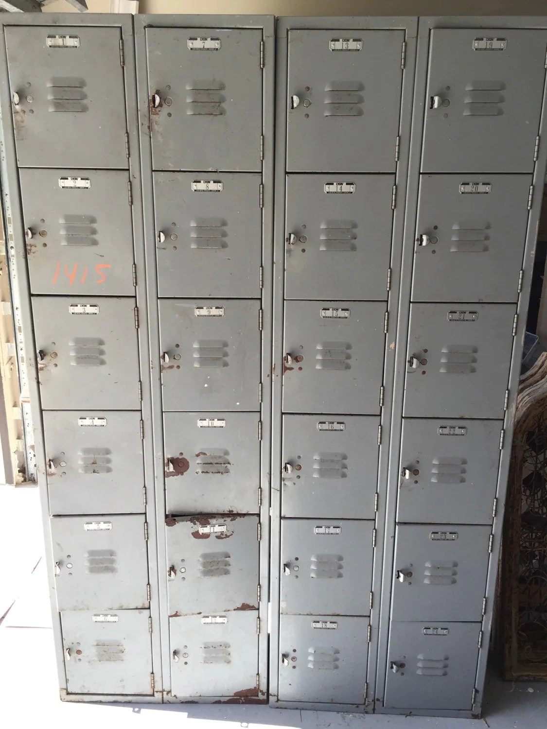 Industrial Metal School Gym Lockers Rusted Gray Vintage