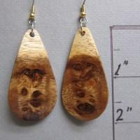 Rare Monkey Pod Exotic wood Earrings Lightweight Long Dangle