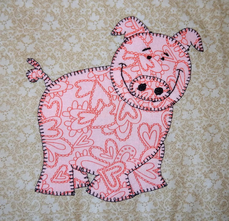 Pig Applique Pattern Boy Or Girl Farm Animal Quilt Block