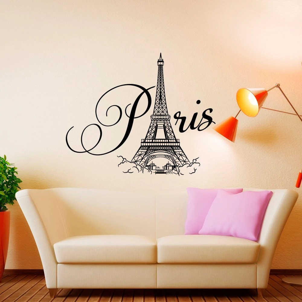 Girls Wallpaper Decals With Eiffel Tower Name Wall Decal Girl Personalized Paris Wall Decal Girl