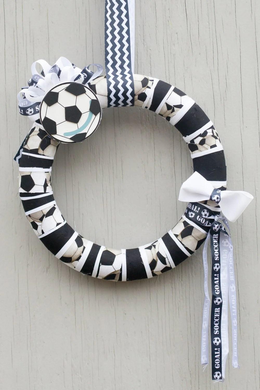 Soccer Ball Fabric Wreath Soccer Ball Decor Soccer Ball Door