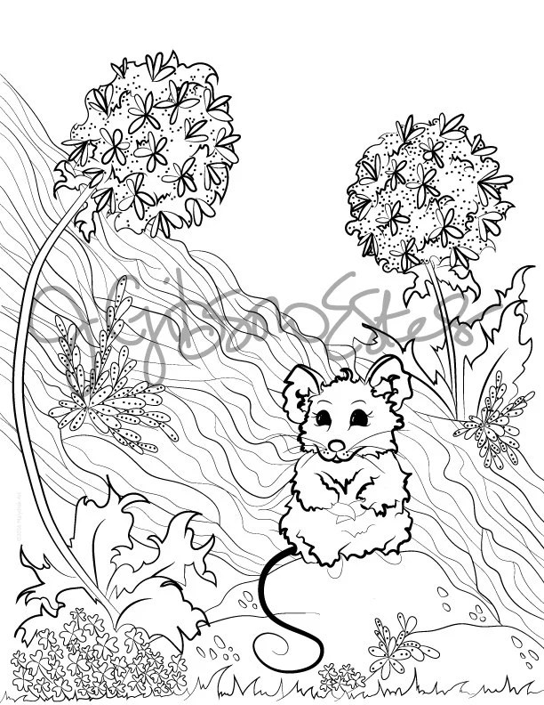Field Mouse Printable Coloring Page