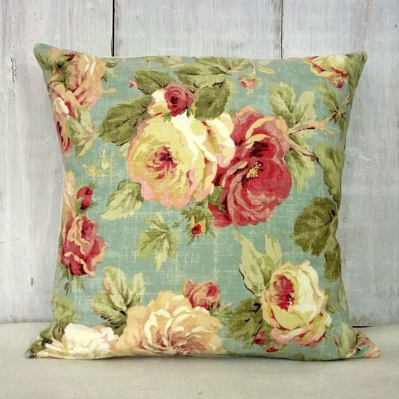 Shabby Cottage Chic Pillow Cover Pink Roses Pillow