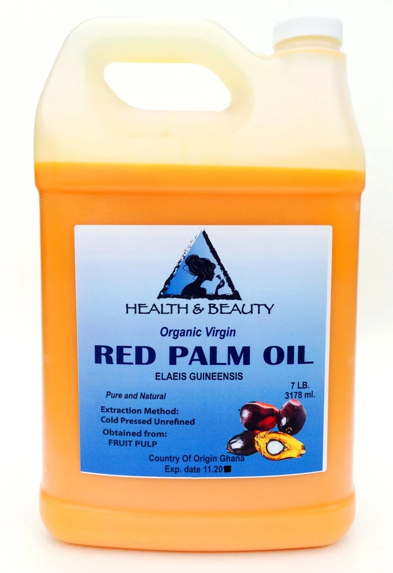 7 Lb 1 gal PALM OIL RED Extra Virgin Organic by HBOilsCenter