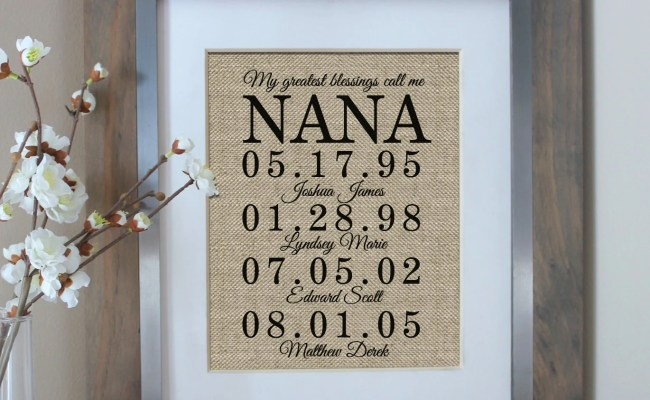 Nana Gift Personalized Gift For Grandmother By Emmaandthebean