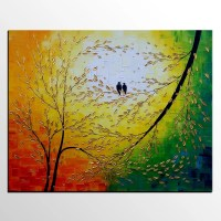 Love Birds Painting Canvas Art Original Oil Painting