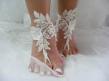 Ivory Lace Sequined Barefoot Sandals Beach Wedding