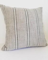Gray pillow cover Nautical pillow Gray stripe pillow cover