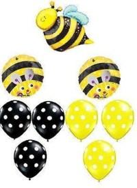 Bumble Bee 9 PC Black Yellow Dot Balloon Bouquet kit kids