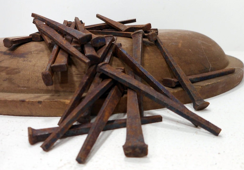 Antique Rusty Square Nails, Set Of 50, Furniture
