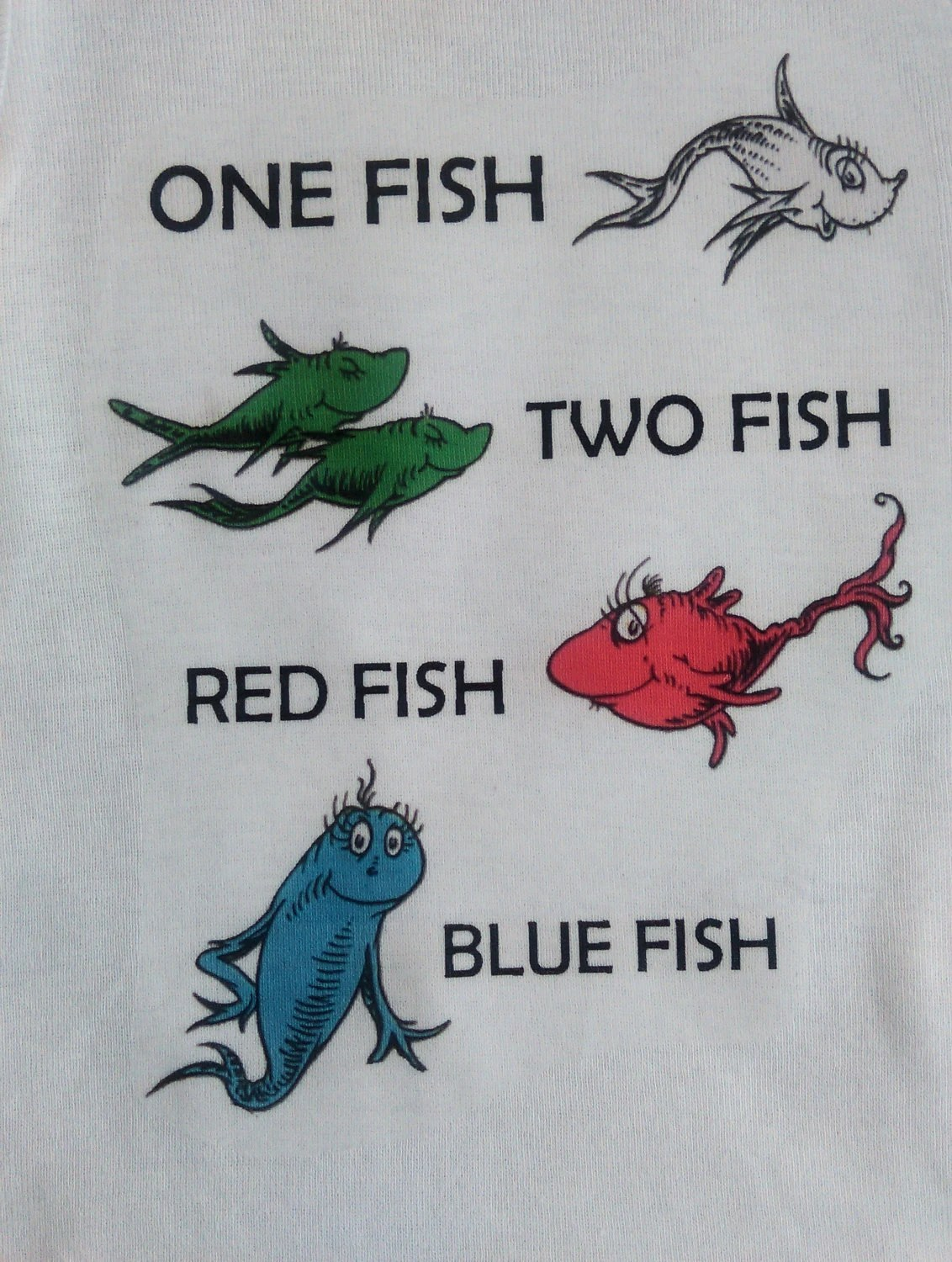 One Fish Two Fish Red Fish Blue Fish Dr Seuss Inspired White