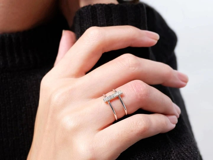 Sovats925 Sterling Silver Double Bands Layers CZ Rings Adjustable Ring Size 5 12 EBay