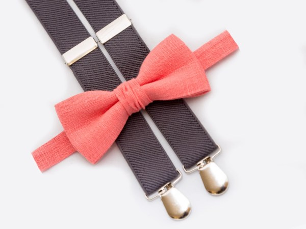 0051f89a66d7 Coral Bow Tie And Gray Suspenders Baby Boy Birthday Outfit