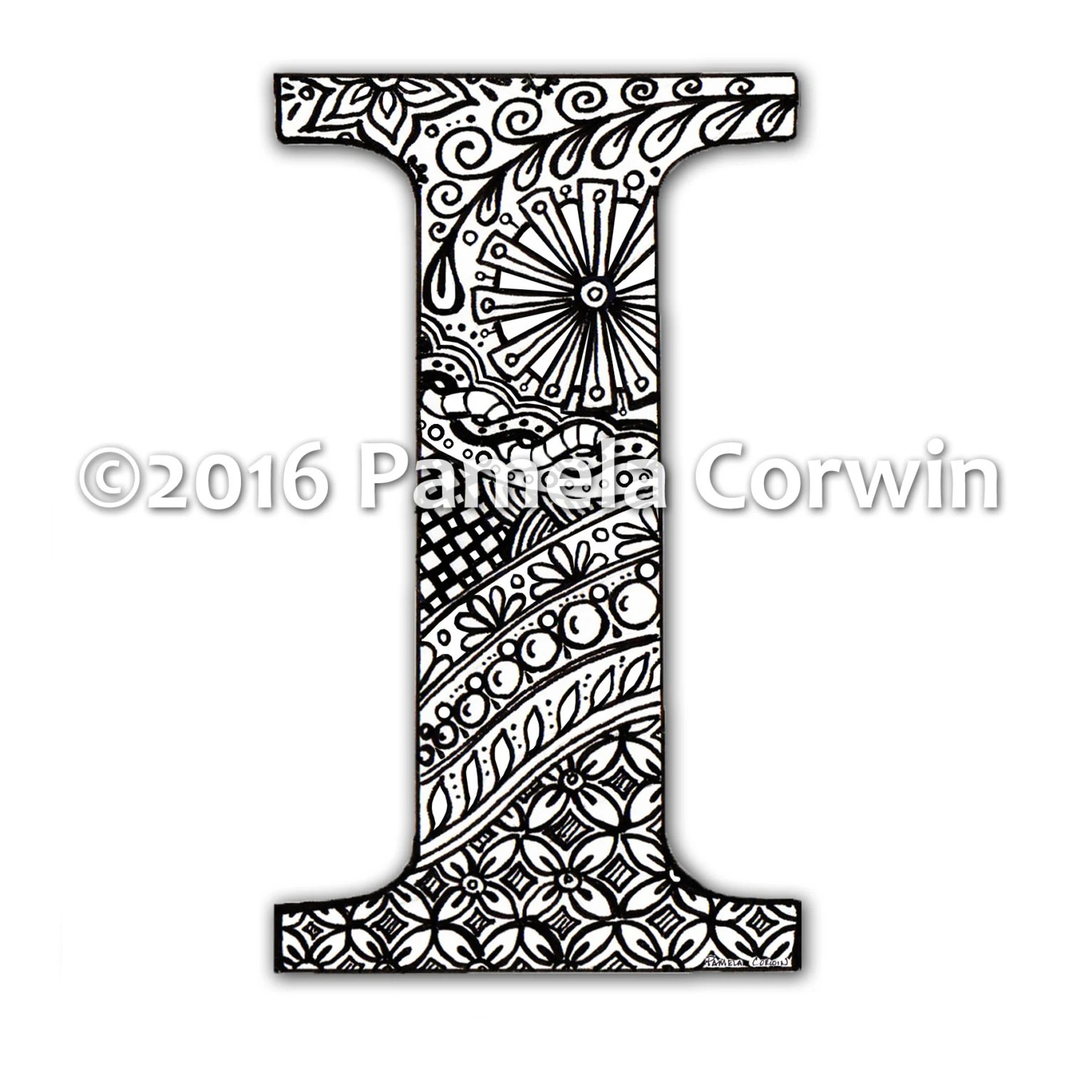 I Monogram Coloring Page from PaperScissorsRock on Etsy Studio