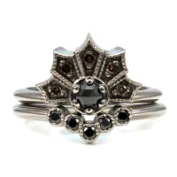 Gothic White Gold and Black Diamond Crown Ring set with