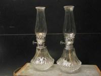 Pair Mini Kerosene Lamps Lamplight Farms Cut Glass 9