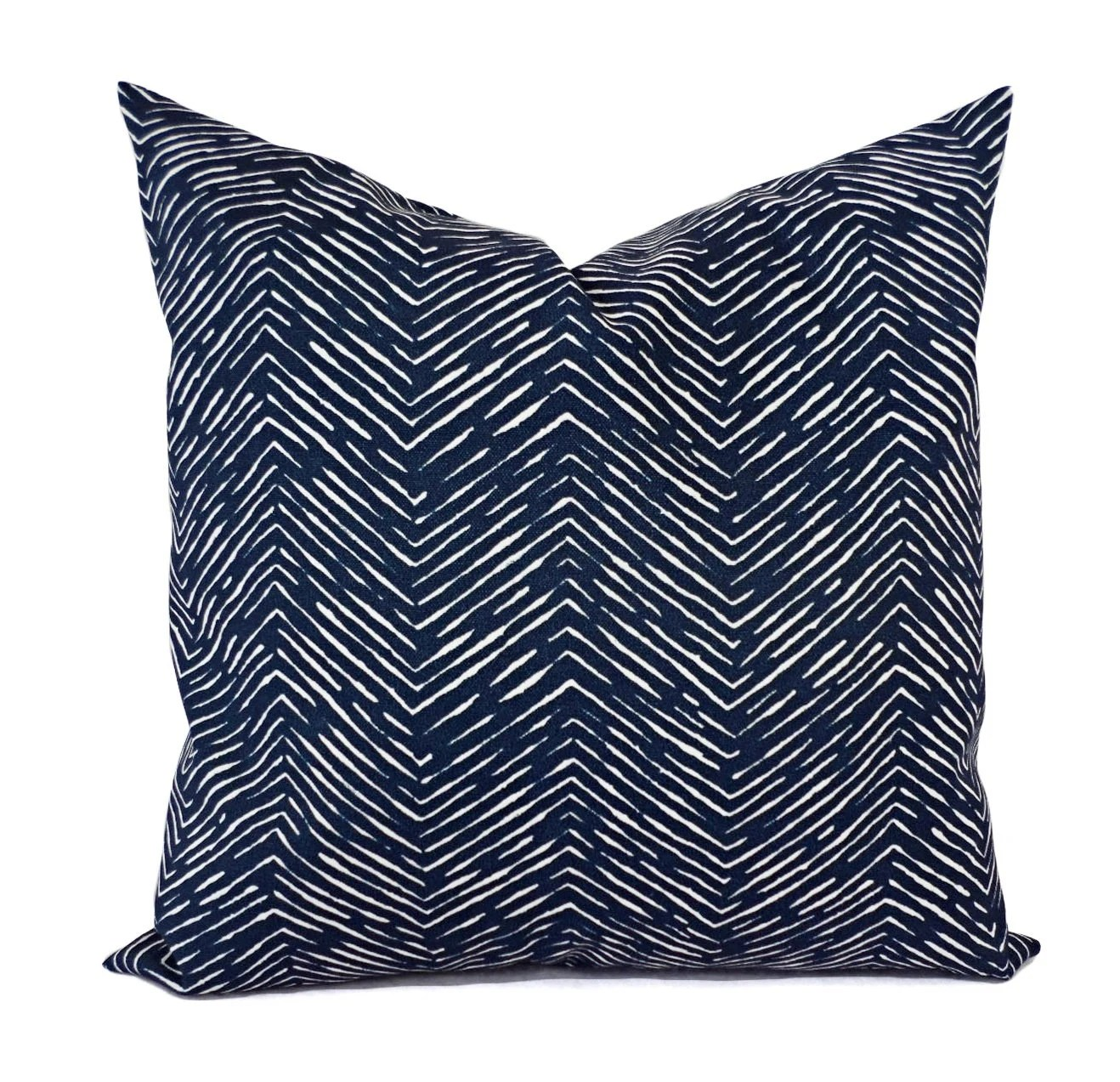 Two OUTDOOR Pillows Navy and White Pillow Cover Navy Blue