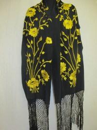 Silk Shawl Embroidered Shawl Fringe Boho Shawl Shawl Silk Wrap