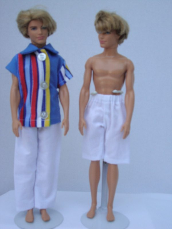 11-12 Boy Doll Clothes 3 Piece Summer Outfit White Pants