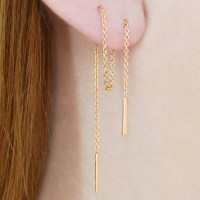 Rose Gold Chain Threader Earrings Rose Gold Earrings Dangle