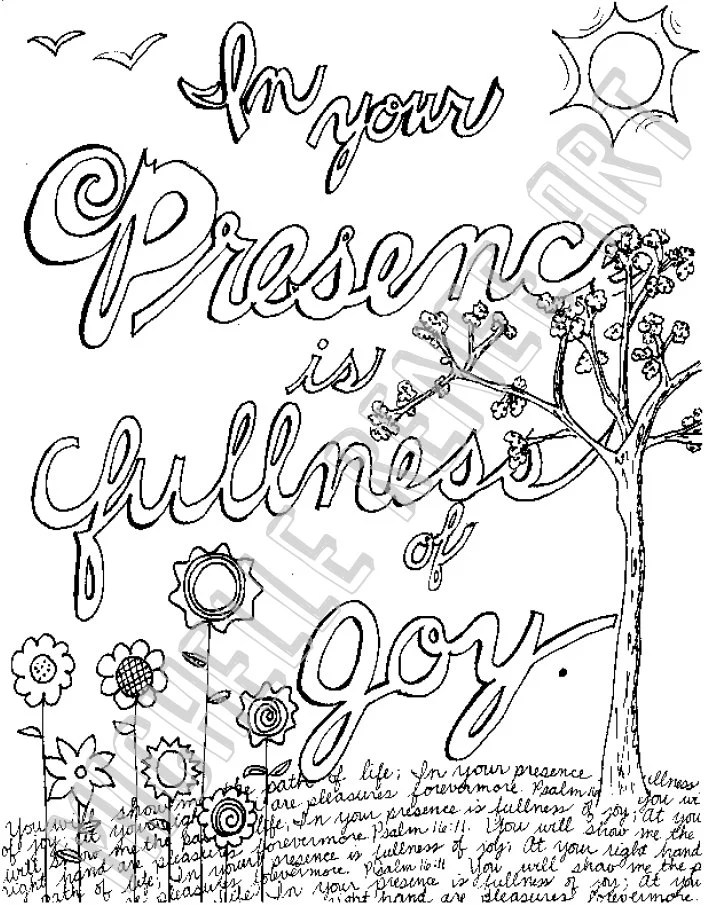 Bible Verse Coloring Page: Psalm 16.11 Digital Instant