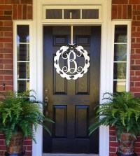 Front Door Wreaths Metal monogram Door Hanger/ Door Wreath