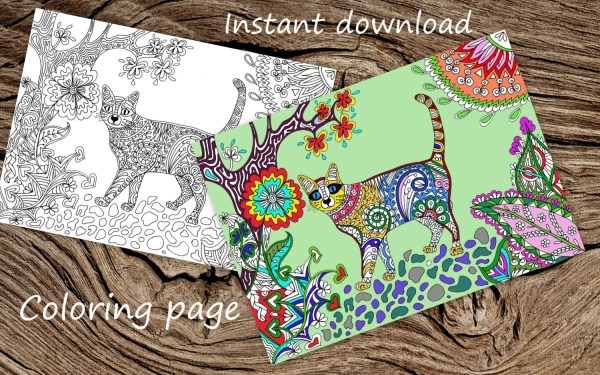 Cat Lovely Coloring Page Digital Bengal