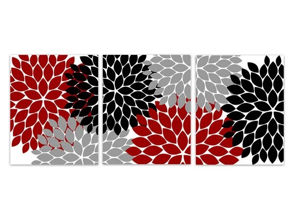 Home Decor Wall Art Red Grey And Black Flower Burst Art