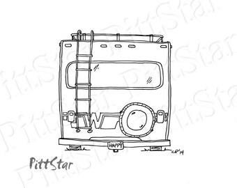 Instant Download Wimsical Winnebago Motorhome Printable