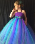 Peacock Flower Girl Dress Turquoise And Purple Tutu