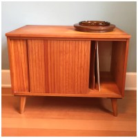 Vintage Mid Century Modern LP Record Cabinet Credenza Stereo