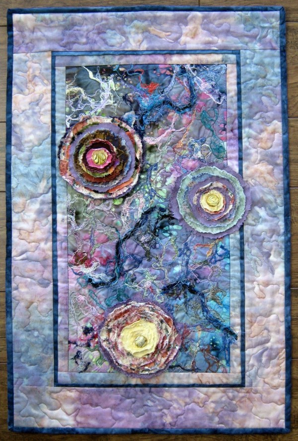 Flower Abstract Quilt Fabric Art Quilted Wall Hanging