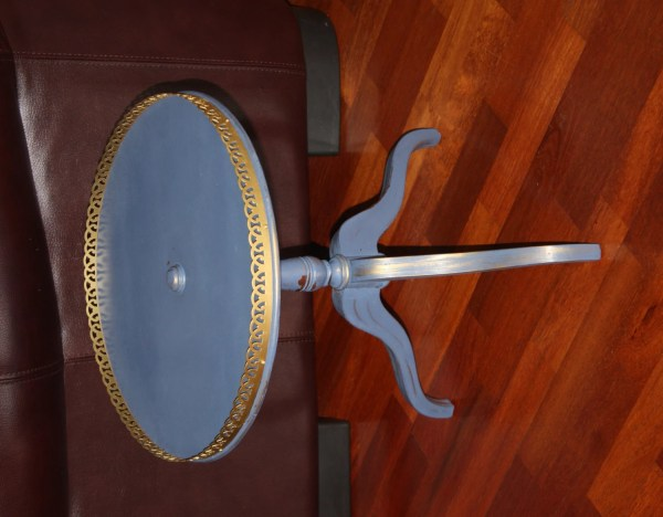 Vintage Small Blue Painted Side Table Gold Accented