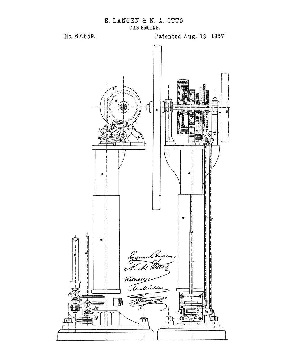 Langen-Otto Improvements in Air Engines Patent Art Print