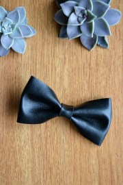 black leather hair bow clip