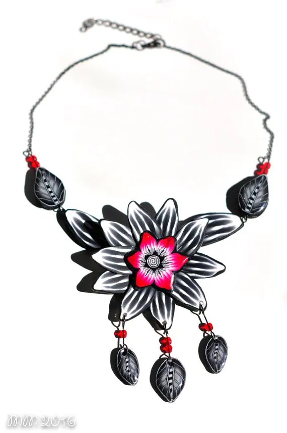 Polymer Clay Leaf Necklace Flower Choker Red by
