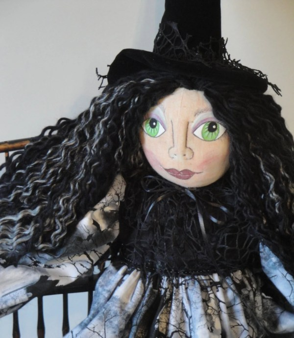 Witch Art Doll Halloween Gothic Graveyard Spooky