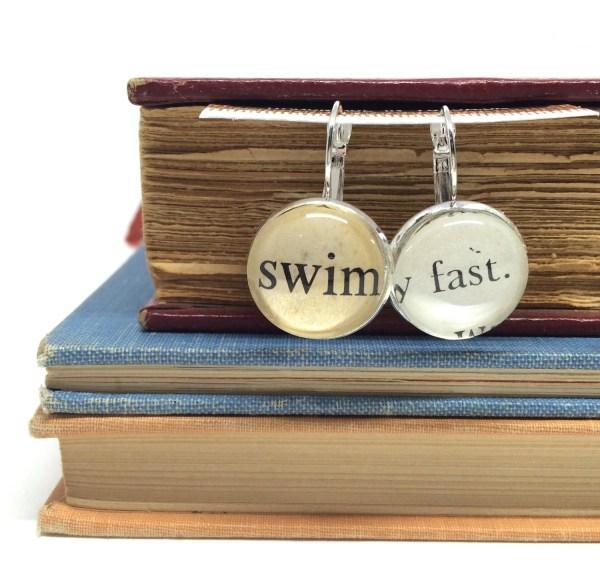 Swimming Earrings Swimmers Swim Fast Drop