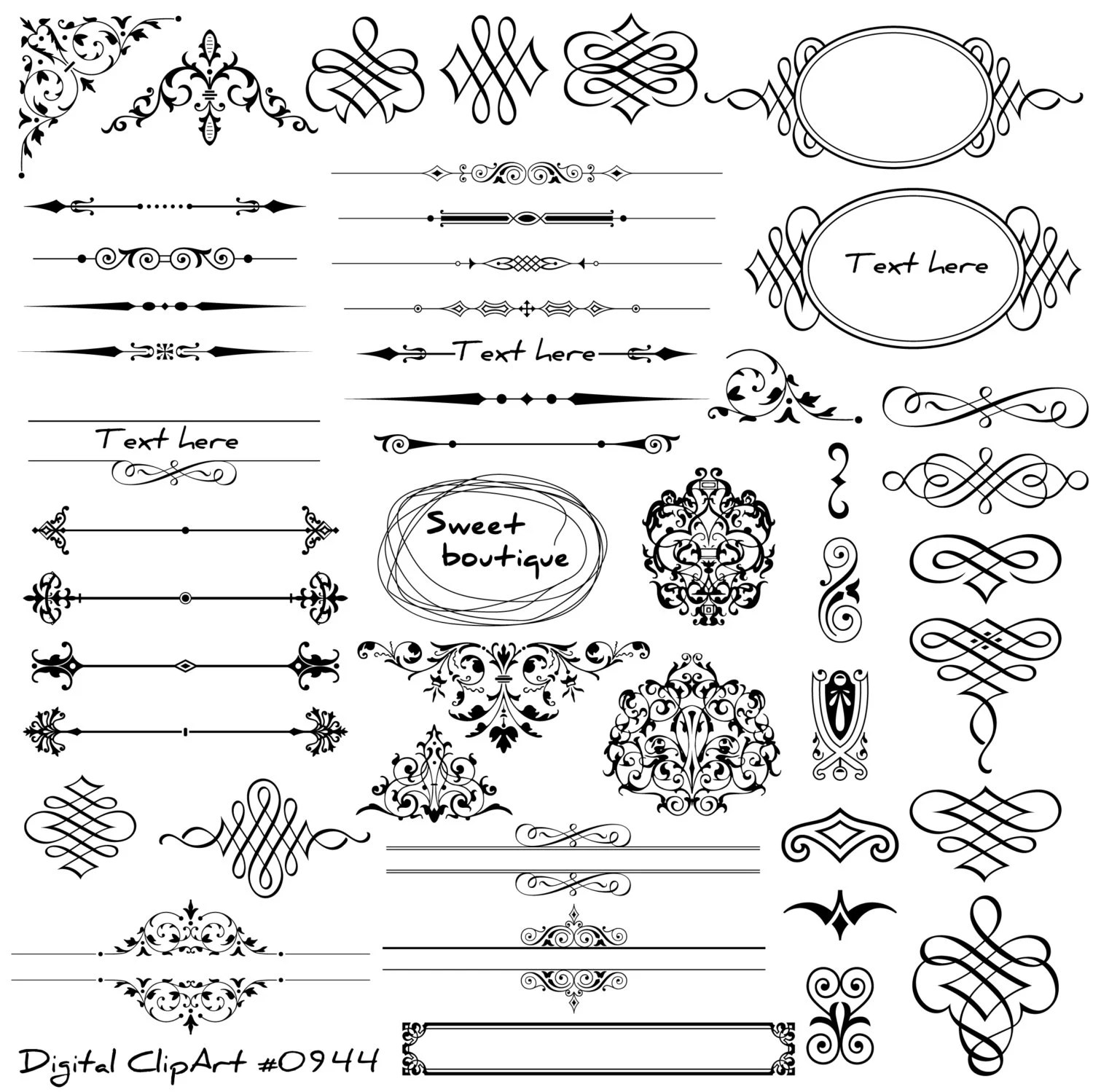 Digital text dividers Page decoration Wedding dividers