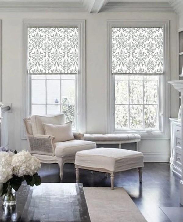 Damask classic gray patterned printed (DAM101) window ...