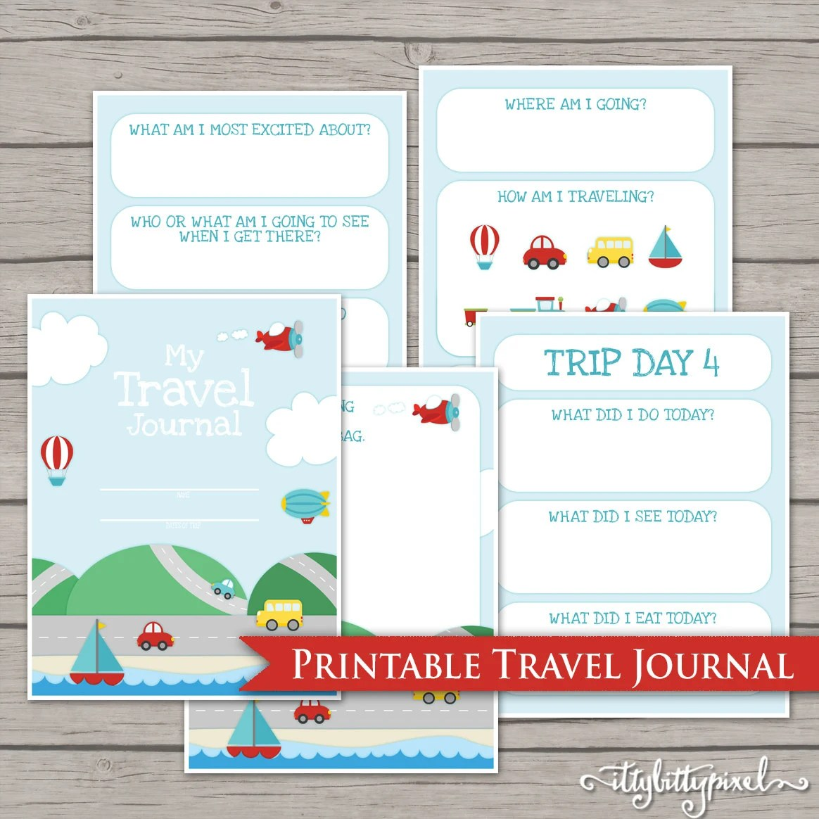 Kids Travel Journal Printable Digital Road By