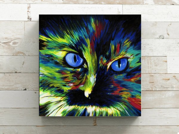 Abstract Cat Art Canvas Print Colorful