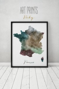 France watercolor map France Wall art France map poster