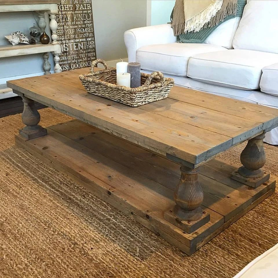 Rustic Baluster Wide Plank Coffee Table