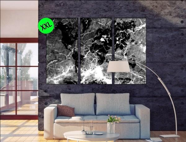 World Map Framed Marble Stone Wall Art Print