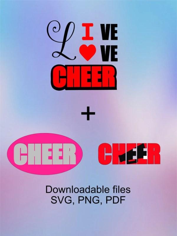 Cheerleading 'live Love Cheer' Svg. Cheerleader Design