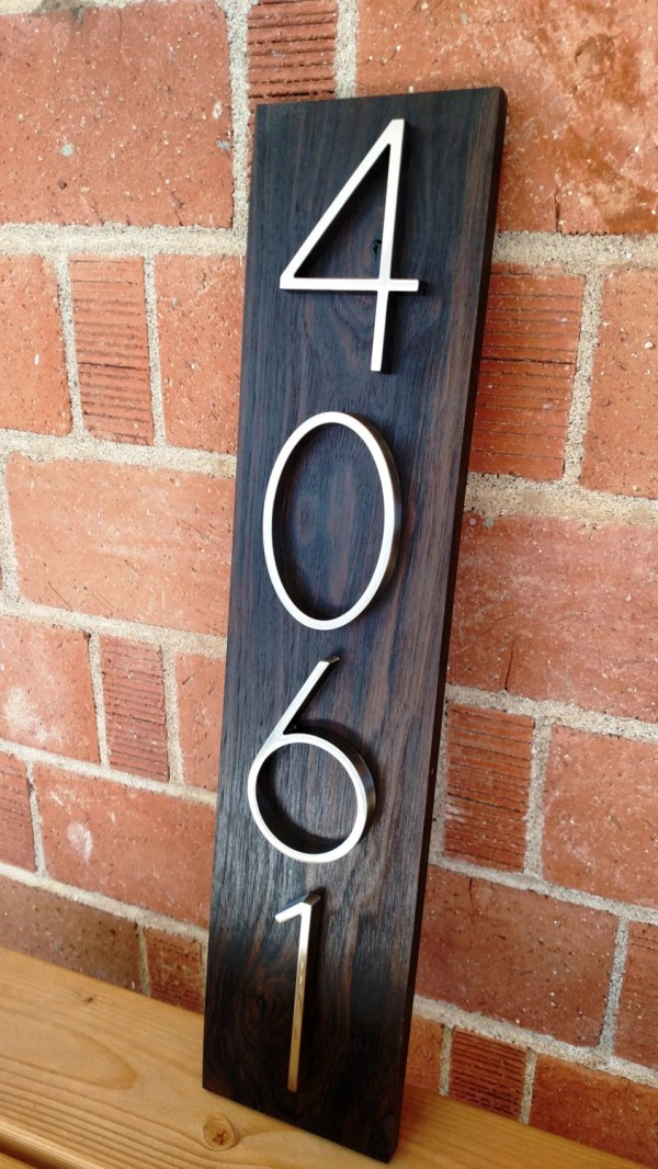 Modern Walnut Address Plaque Custom House Numbers