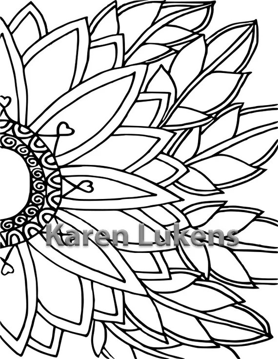 sunflower 1 adult coloring book page printable instant
