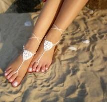 White Bridal Barefoot Sandals Crochet