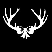 deer antlers with bow vinyl sticker